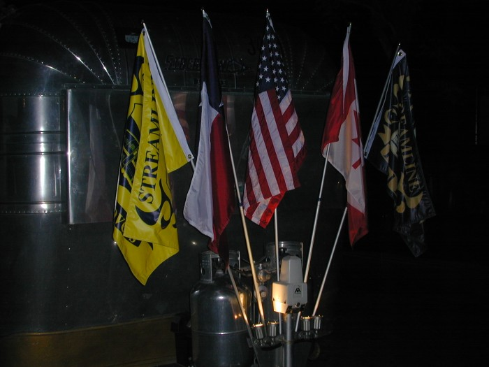 Flags at night with lighting